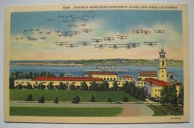 Aircraft Maneuvers over North Island, San Diego CA Old Linen Military Postcard