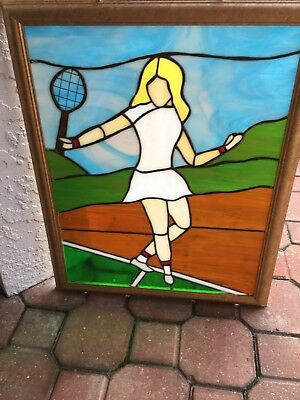 Woman Female TENNIS Player ~ Framed Stained Glass Window
