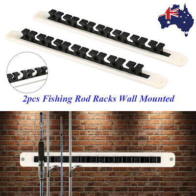 2pcs Fishing Rod Vertical Horizontal Storage Rack Wall Mounted Pole Holder Rest
