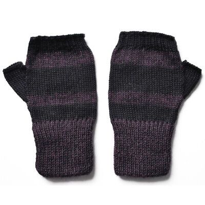 100% Alpaca Wool Fingerless Mittens Purple Black Small ~ Women Men Accessories