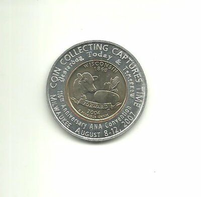 2007 ANA Convention Milwaukee WI Encased 2004 Wisconsin State Quarter