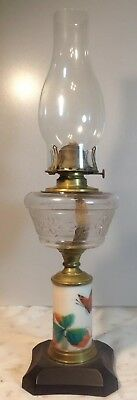 Antique Bridges Band Patent 1872 Drip Catcher Composite Oil Lamp Butterfly Stem