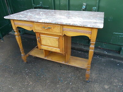 Edwardian/ Victorian pine dresser or washstand with solid marble top