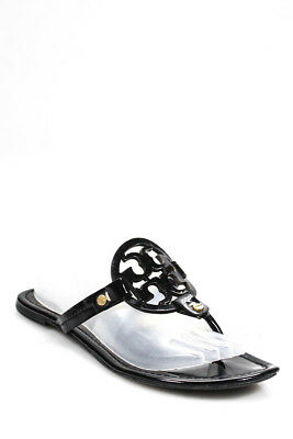 Tory Burch Womens Sandals Flats Black Patent Leather Size 8