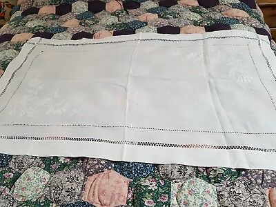 Exquisite Mountmellick Style Hand Embroidered, Irish Linen Table Centre