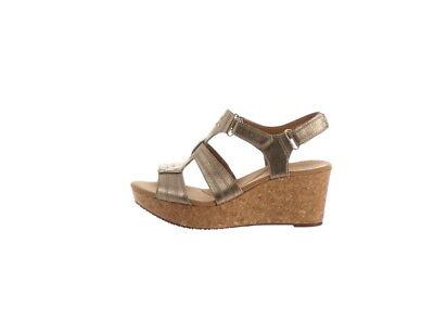 e0cd37c486e Clarks Leather Triple Adjust Wedge Sandals Annadel Orchid Gold 10M NEW  A290057