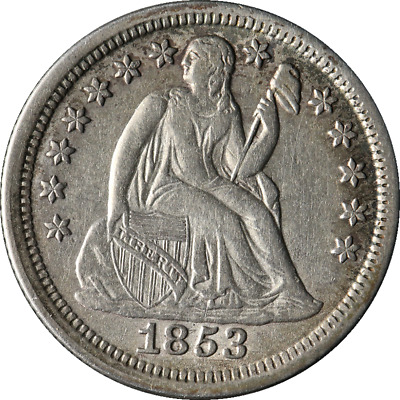 1853-P Seated Liberty Dime No Arrows Choice XF+ Key Date Great Eye Appeal