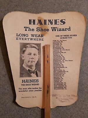 HAINES the SHOE WIZARD Old PHOTO ADVERTISING FAN  ~ Boy SCOUT BENEFACTOR York PA