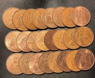 Vintage Great Britain Coin Lot! 24 Excellent QEII Large Pennies - Lot #D10