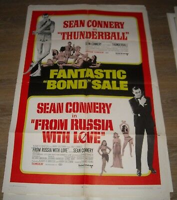 1968 SEAN CONNERY as BOND DOUBLE FEATURE 1 SHEET MOVIE POSTER THUNDERBALL & FROM