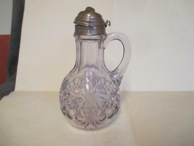 Antique Glass Syrup Pitcher, Fan Diamond Pattern, turning purple
