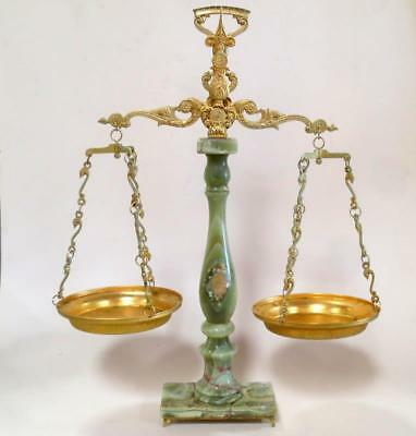 "Ornate Antique Vintage Italian Alabaster Marble Balance Scale 25 1/4"" tall"