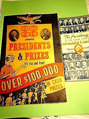 1964 FOOD FAIR /Presidents & Prizes booklet w/stamps+The Presidency of the US Wa