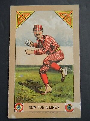 ANTIQUE 1883 YALE BASEBALL SCORE CARD w LITHOGRAPH of BASEBALL PLAYER ON COVER