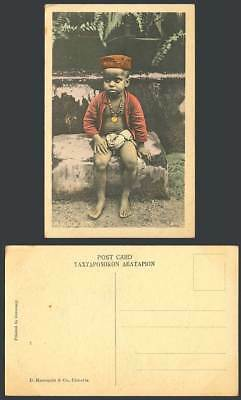 India Old Hand Tinted Postcard A Hindu Boy, Barefoot Native Child Necklace & Hat