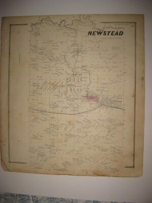 Vintage Antique 1866 Newstead Akron Falkirk Erie County New York Handcolored Map