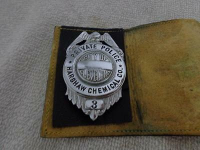 """Obsolete Private Police City Of Cleveland Ohio 3"""" Pinback Badge Harshaw Chemical"""