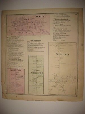 Vintage Antique 1866 Akron Amherst Sardinia Erie County New York Handcolored Map