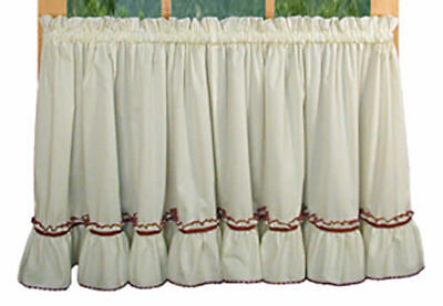 1 PAIR JENNY Country Ruffled Tiers Window Cafe Kitchen ...