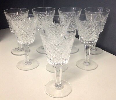 WATERFORD Set Of 8 Clear Cut Lead Crystal Alana Claret Patterned Goblets SR