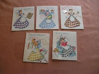 1950s DOEHLA GREET CARDS LADY in House Dress Baking, BIRTHDAY,GET WELL,5-UNUSED