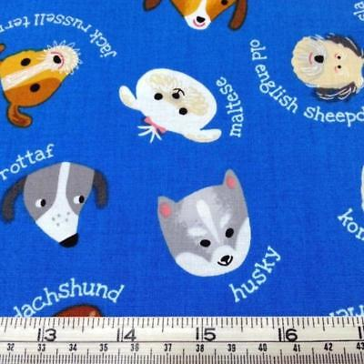 Dogs puppies corgi terrier poodle Whiskers & Tails Kaufman cotton quilt fabric