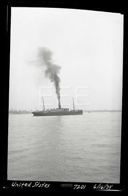 6/16/34 SS United States Ocean Liner Ship Old Photo Negative 37M