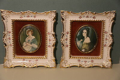 pair of Cameo Creation porcelain framed lady portraits, Ladu Hamilton