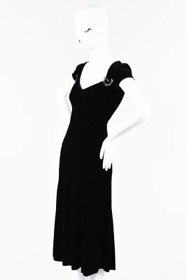 Armani Collezioni Black Velvet Rhinestone Accent Cap Sleeve Dress SZ 2