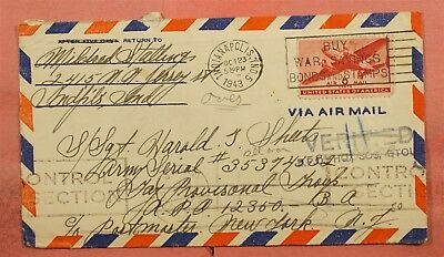 1943 Airmail Indianapolis In To Apo 12350 Pow Verified Hand Stamp Censored