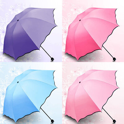 Anti UV Sun Rain Umbrella 3 Folding Parasol Encounter Water Show Flower Compact