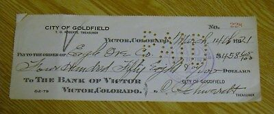 1921 Goldfield / Victor Colorado Gold Ore Payment Check vintage mining