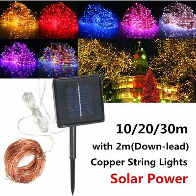 Warm White 100-300 LED Solar Power Copper Wire Outdoor String Fairy Party