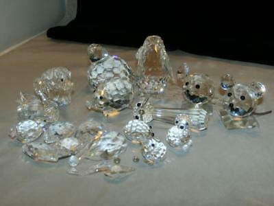 Lot Assorted Swarovski Crystal Figurines Pieces Parts For Repair Mouse Cat Swan+
