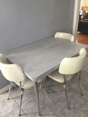 mid century formica table and 6 chairs
