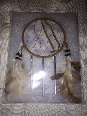 """New Handcrafted Dream Catcher Web Leather and String, Feathers, Beads, 8"""" x 4"""""""
