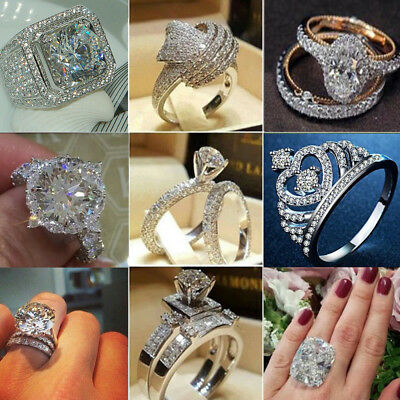 Infinity 925 Silver Women Wedding Rings White Sapphire Fashion Jewelry Size 6-10