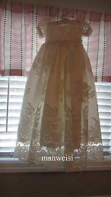 Ivory Vintage Lace Christening Dress Antique Baby Baptism Gowns In Stock+Bowknot