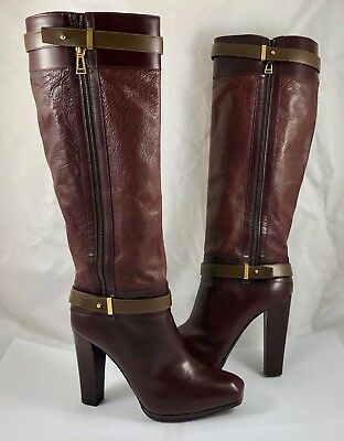 b0cf873fc3f Belstaff Women s Size 10 40 Gainsborough Leather Knee High Boots Cordovan   1600