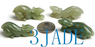 4pcs Hand Carved Natural Nephrite Jade Mouse / Rat Figurines / Carvings