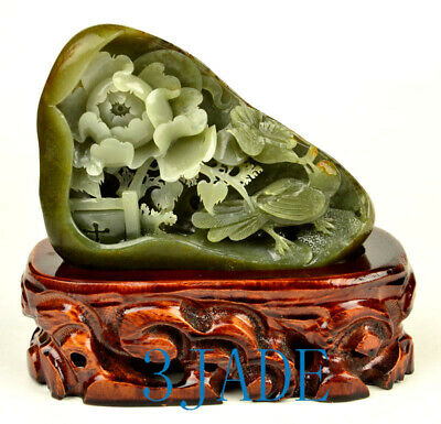 Natural Hetian Nephrite Seed Jade Flower Statue Sculpture Carving w/certificate