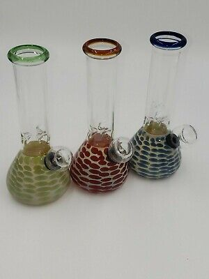 "New 5"" best Hot colors mini glass water pipe attached stem clear bowl best price"