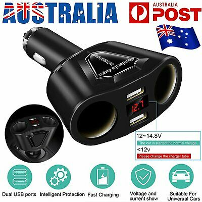 Dual USB LCD Car Charger Cigarette Lighter Socket Splitter 12V/24V Power Adapter