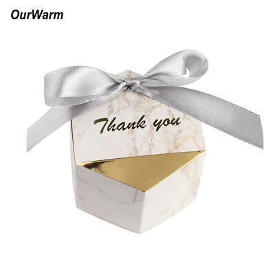 100×Marble Candy Box Geometric Ribbon Gift Box for Guest Wedding Birthday Favor
