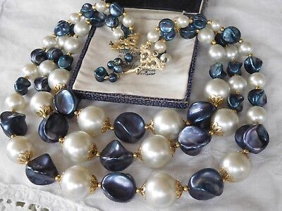 Lovely Vintage 1950s Smokey Blue & Grey Pearl Necklace