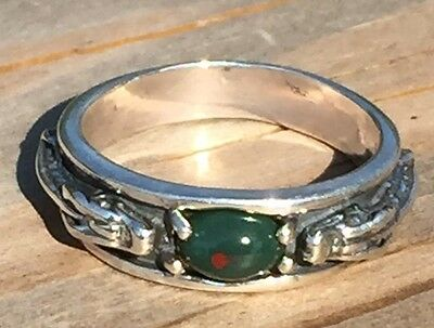 Medieval DRAGON Ring .925 Sterling Silver Sz 8 w/ Genuine Bloodstone Heliotrope