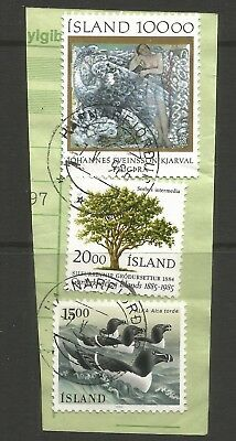 ICELAND 1985/86  3 x STAMPS ON A PIECE, SCOTT  635,642,648, USED (o)