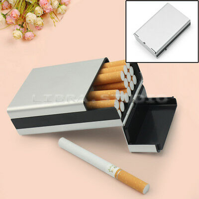 Aluminum Cigar Cigarette Tobacco Holder Pocket Box Case Container Silver New