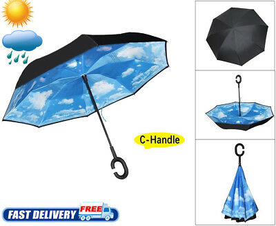 Windproof Rain Umbrella Inverted Reverse Double Layer Upside Down C-Handle COOL