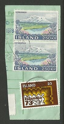 ICELAND 1972/73  THREE STAMPS  ON A PIECE, SCOTT  461 & 484, USED (o)
